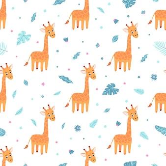 Симпатичный бесшовный образец с жирафом и экзотическими листьями