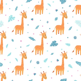 Cute seamless pattern with giraffe and exotic leaves