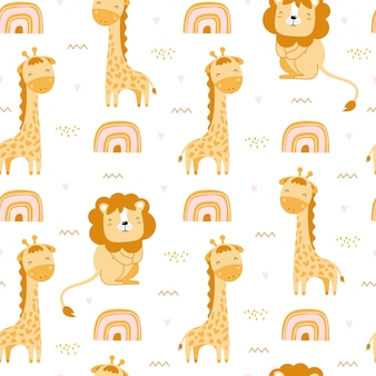 Cute seamless pattern with giraffes, lions and rainbows.
