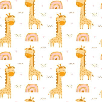 Cute seamless pattern with giraffes and rainbows