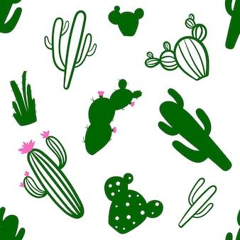 緑のサボテンとかわいいシームレスパターン