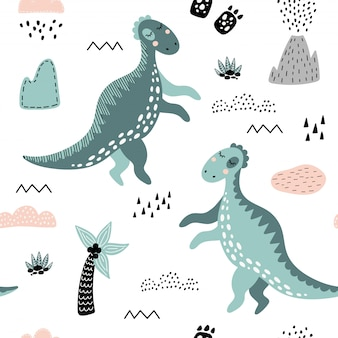 Cute seamless pattern with green dinosaurs.