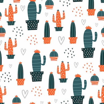 Cute seamless pattern with hand drawn cactus botanical
