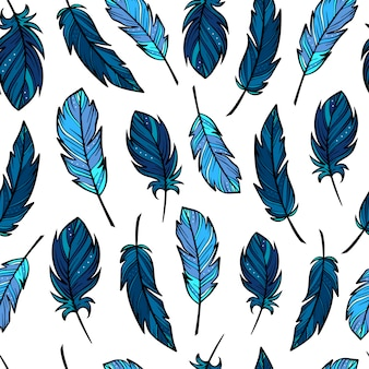 Cute seamless pattern with hand drawn feathers