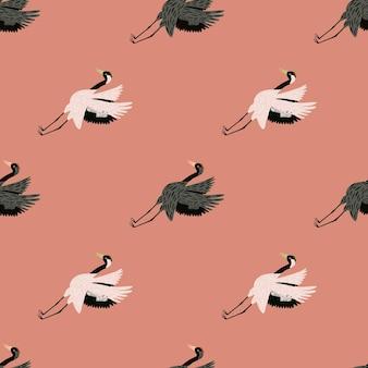 Симпатичные бесшовные модели с рисованной серый и белый журавль птица