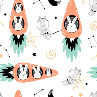 Cute seamless pattern with hares on carrots rockets