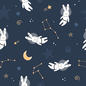 Cute seamless pattern with hares in space