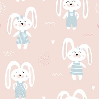ウサギとかわいいのシームレスパターン。