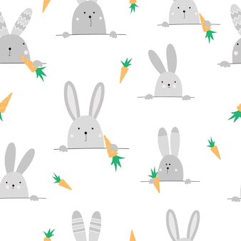 Cute seamless pattern with hares