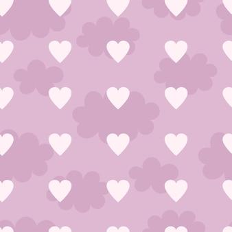 心と雲、保育園の装飾、ベビー服のプリント、壁紙とかわいいシームレスパターン。フラットスタイルのベクトル図