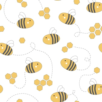 Cute seamless pattern with honey and bees