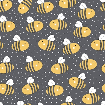Cute seamless pattern with honey and bees Premium Vector