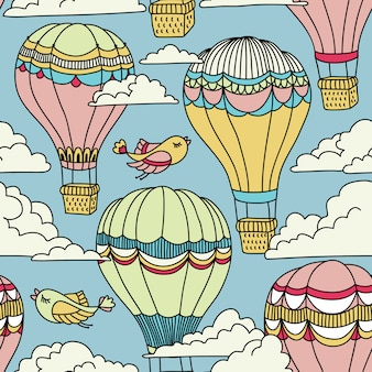 Cute seamless pattern with hot air balloons