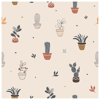 냄비에 집 식물과 귀여운 원활한 패턴 손으로 그린 벡터 일러스트 레이 션