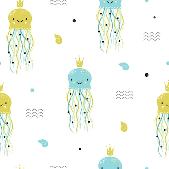 Cute seamless pattern with jellyfish.