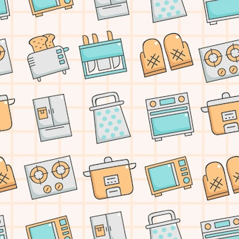 Cute seamless pattern with kitchenware