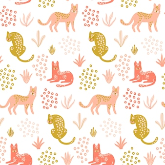 Cute seamless pattern with leopards.
