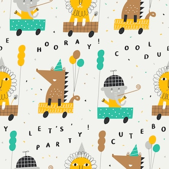 Cute seamless pattern with lion, elephant and crocodile in cars.