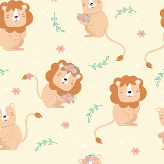 Cute seamless pattern with lions