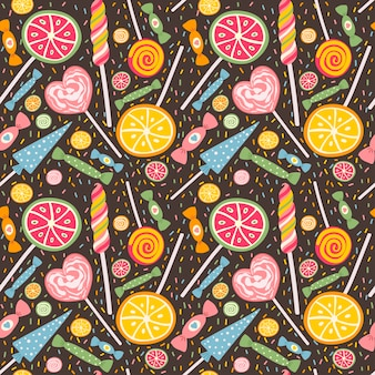 Cute seamless pattern with lollipops and candies.