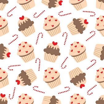 Cute seamless pattern with lovely cupcakes.