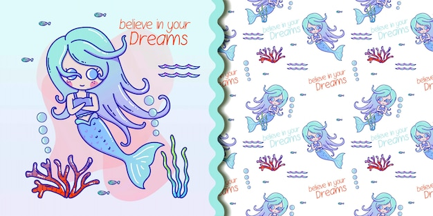 Cute seamless pattern with mermaids and jellyfish. turquoise and coral colors.