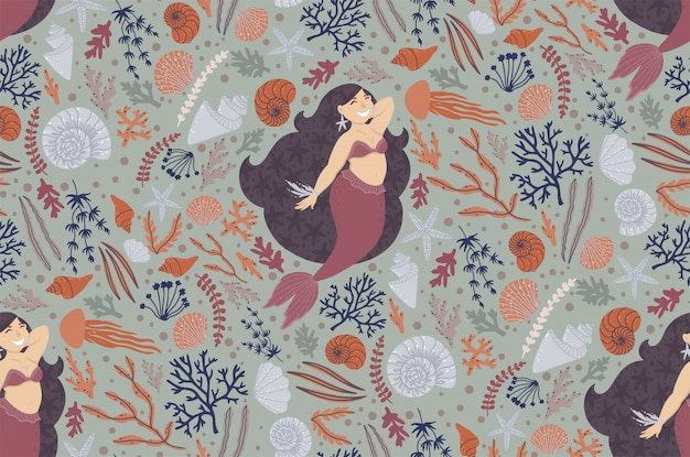 Cute seamless pattern with mermaids
