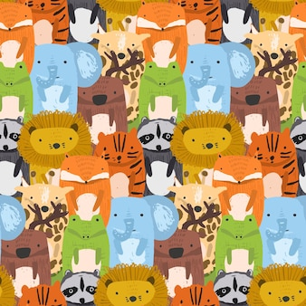 Cute seamless pattern with mess of sketchy lions, crocodile, giraffe, tiger and raccoon