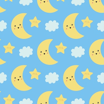 Cute seamless pattern with moon, stars and cloud