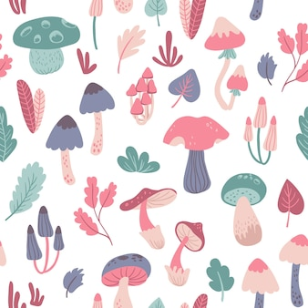 Cute seamless pattern with mushrooms and leaves