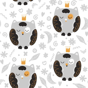 Cute seamless pattern with owls in scandinavian style