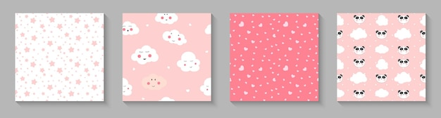 Cute seamless pattern with panda hearts and clouds