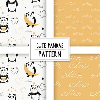 Cute seamless pattern with pandas on the clouds.