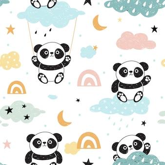 Cute seamless pattern with pandas.