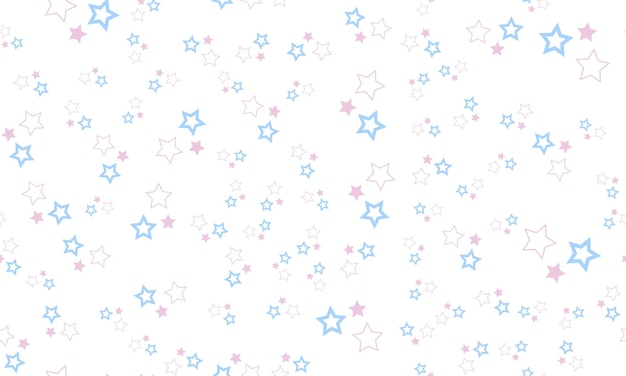 흰색 바탕에 파스텔 색상 별과 귀여운 원활한 패턴
