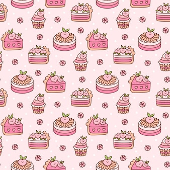 Cute seamless pattern with peach cakes and flowers with white dots on a pink background