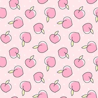 점이 있는 분홍색 배경에 복숭아가 있는 귀여운 매끄러운 패턴