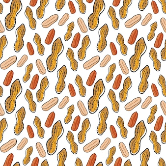 Cute seamless pattern with peanuts . sketched natural nuts hand drawn vector background. for your design, textile, fabric, surface textures, packaging.