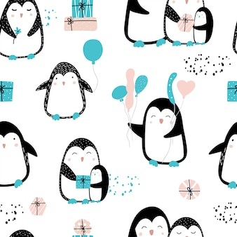 Cute seamless pattern with penguins and gifts