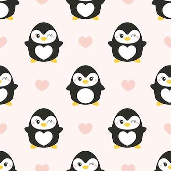 Милый бесшовные модели с пингвинами Premium векторы
