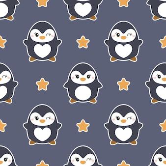 Милый бесшовные модели с пингвинами
