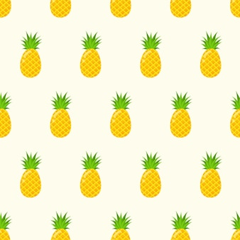 Cute seamless pattern with a pineapple in a cartoon style. bright background for printing on fabric, wallpaper and paper. vector