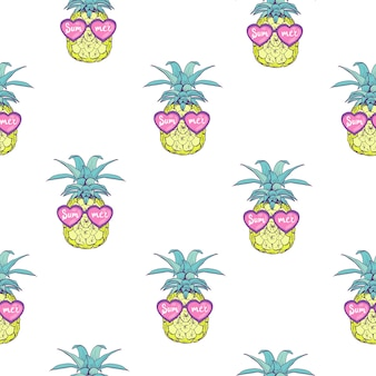 Cute seamless pattern with pineapples