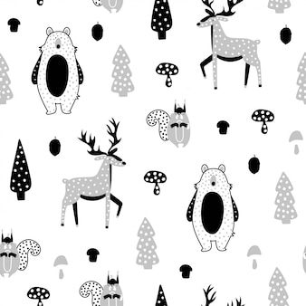 Cute seamless pattern with pink deer, bear, squirrel.