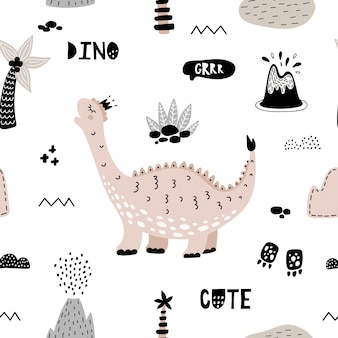 Cute seamless pattern with pink dinosaur.