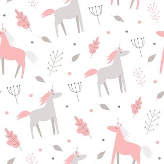 Симпатичные бесшовные модели с розовыми лошадьми и растениями на белом фоне.
