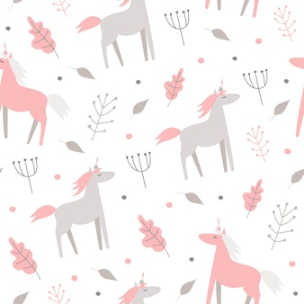 Cute seamless pattern with pink horses and plants on a white background.