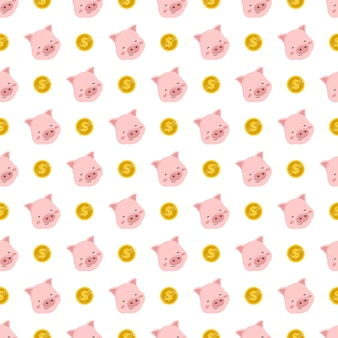 Cute seamless pattern with pink pig and gold coin
