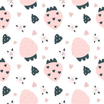 Симпатичные бесшовные модели с розовой клубникой и сердечками в скандинавском стиле векторные иллюстрации