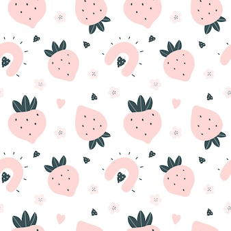 Cute seamless pattern with pink strawberries and hearts scandinavian style vector illustration